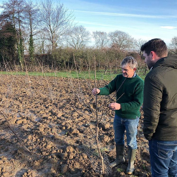 Tom and Son with the new cherry tree orchard